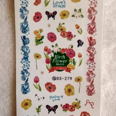 Decalques DS-279 - Borboletas e Flores