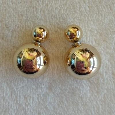 Brincos Bolas Douradas - Grande e Pequena