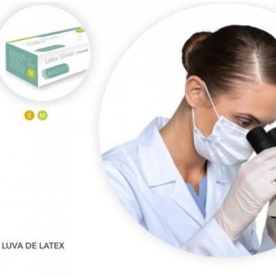 Luvas Latex - Tamanho M - Sem Pó - Caixa 100 Unidades
