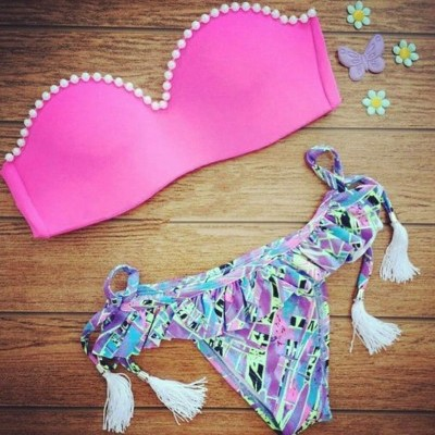 Bikini Top Rosa com Pérolas