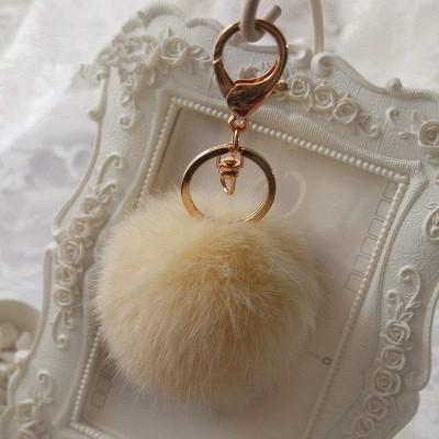 Porta-Chaves Pompom Pequeno Bege