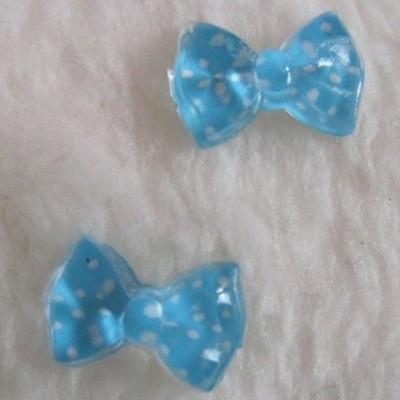 Laços Azuis Claros com Bolinhas - 1 Par