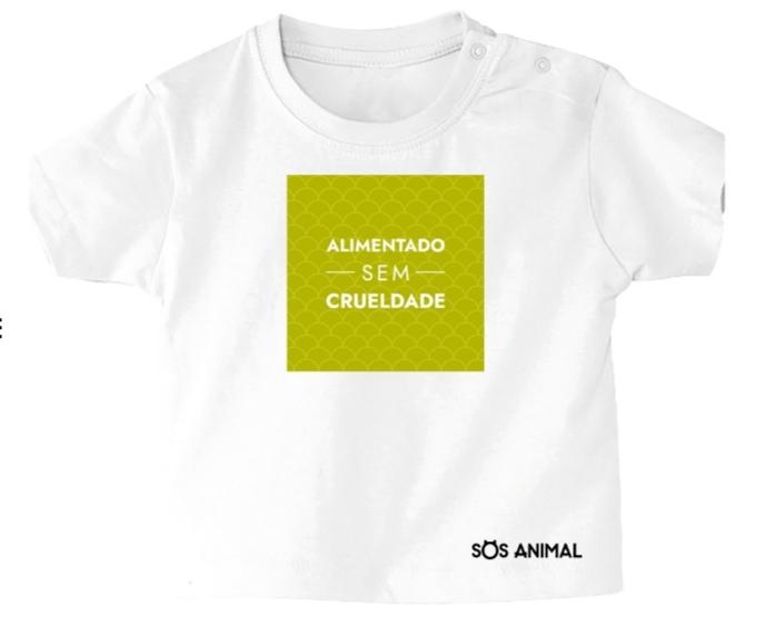"""T-shirt """"alimentado sem crueldade animal"""""""