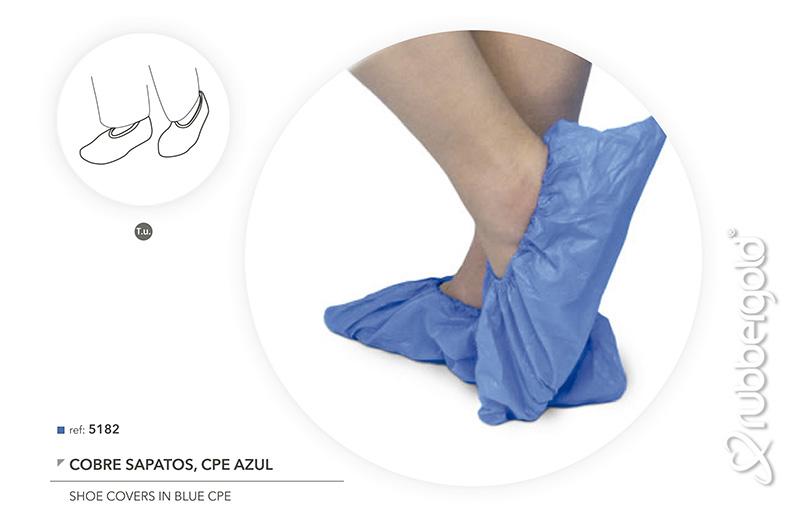 Cobre Sapatos em CPE azul - 100/un