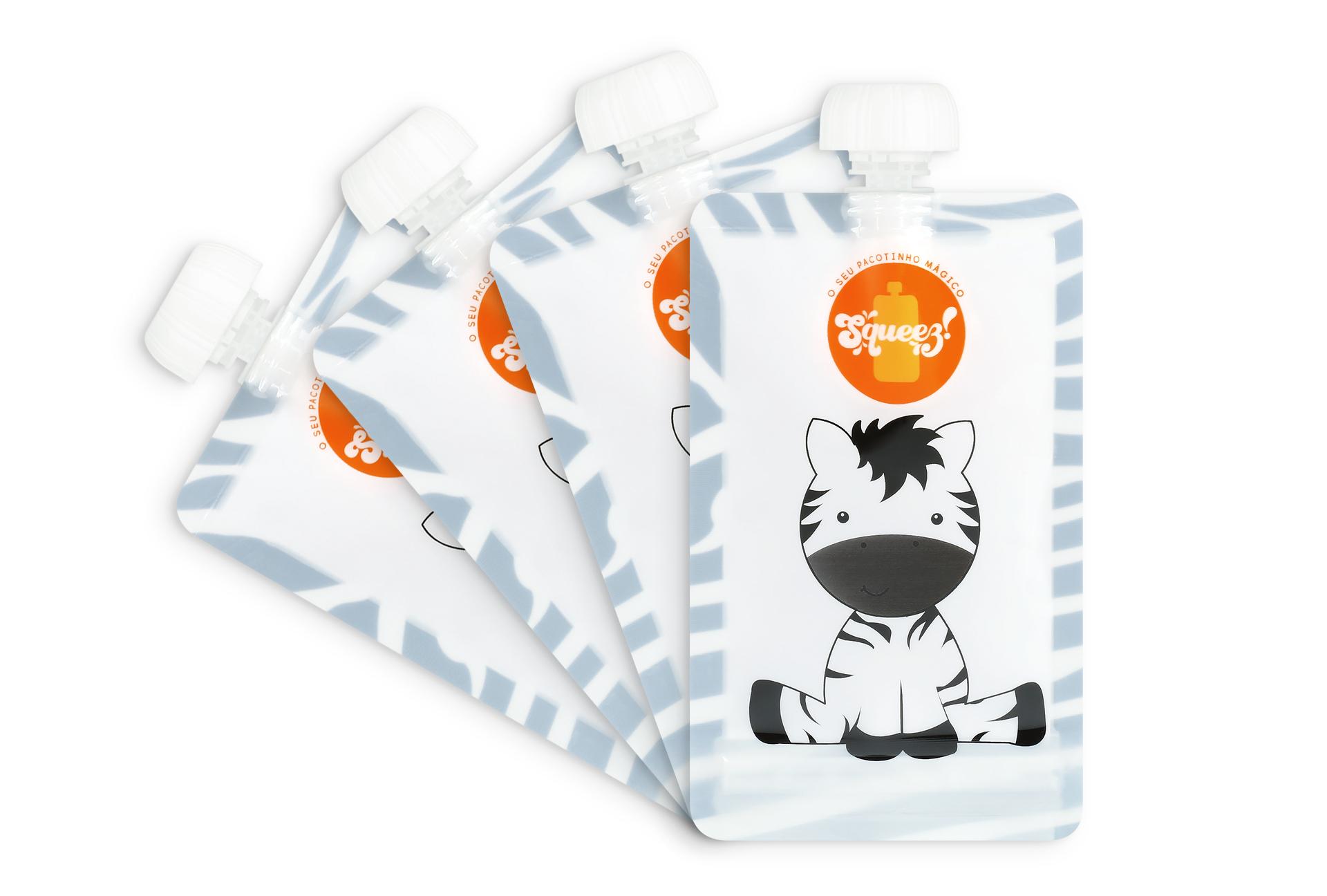Pack 4 Pacotes reutilizáveis 100ml Squeez! (Leão ou Zebra)