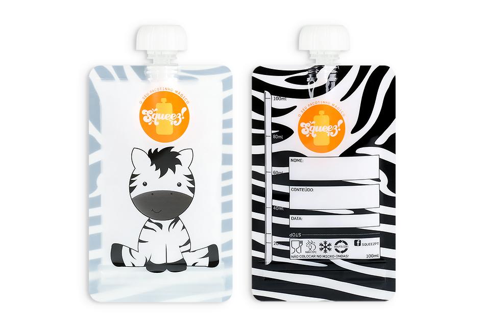 Pacotinho Reutilizável Squeez! AVULSO Zebra 100ML