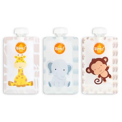 Pack 6 Pacotes reutilizáveis Squeez! - Macaco + Elefante + Girafa 150ml