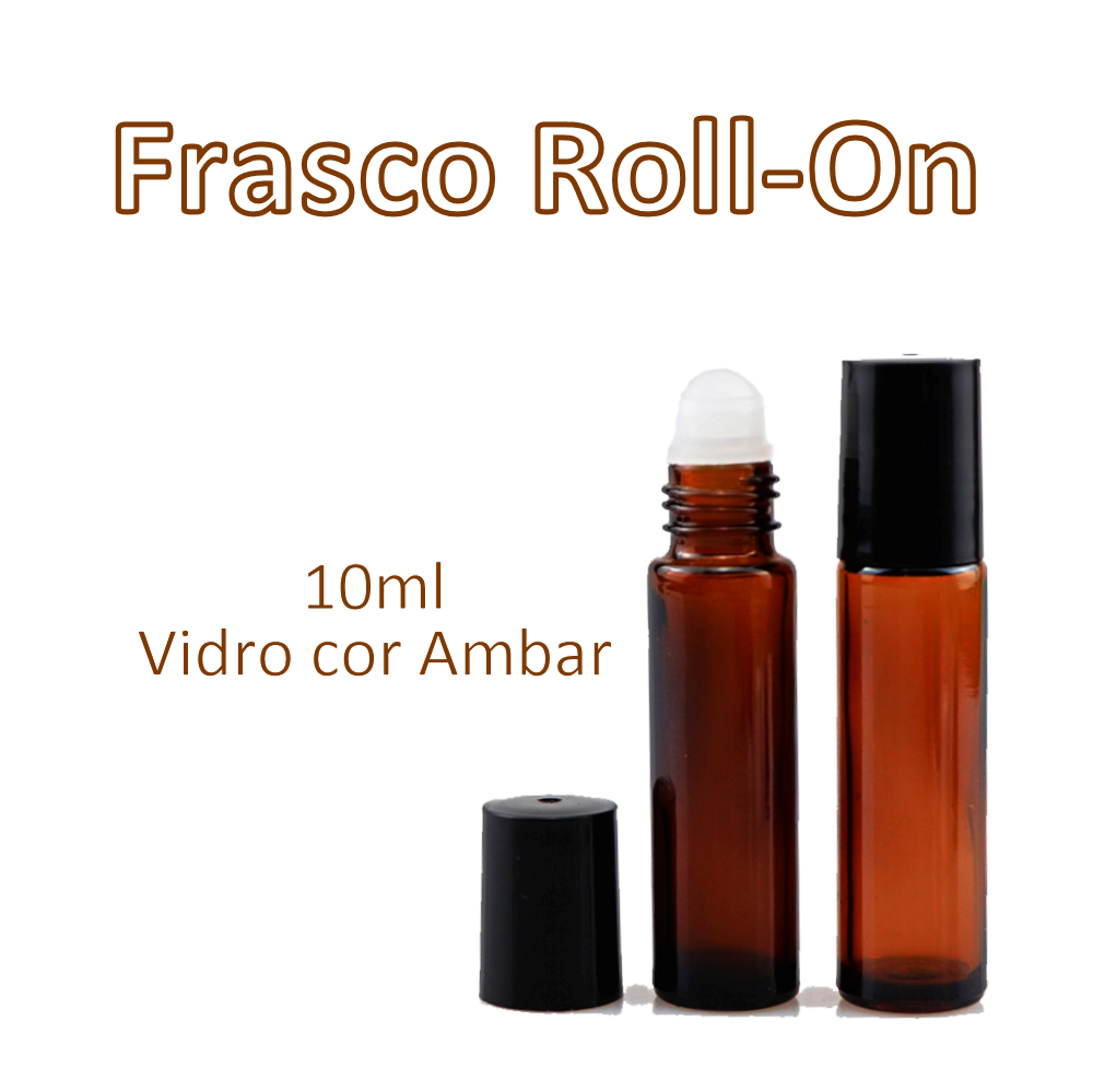Frasco Roll-On de Vidro Ambar 10ml