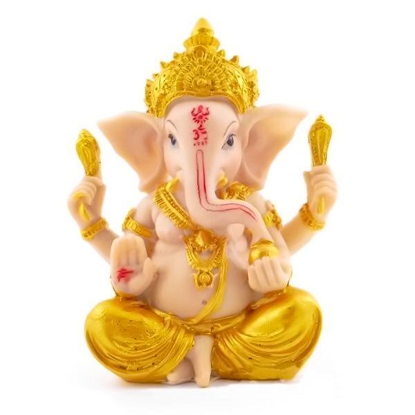 Estátua Ganesha Dourado 10cm