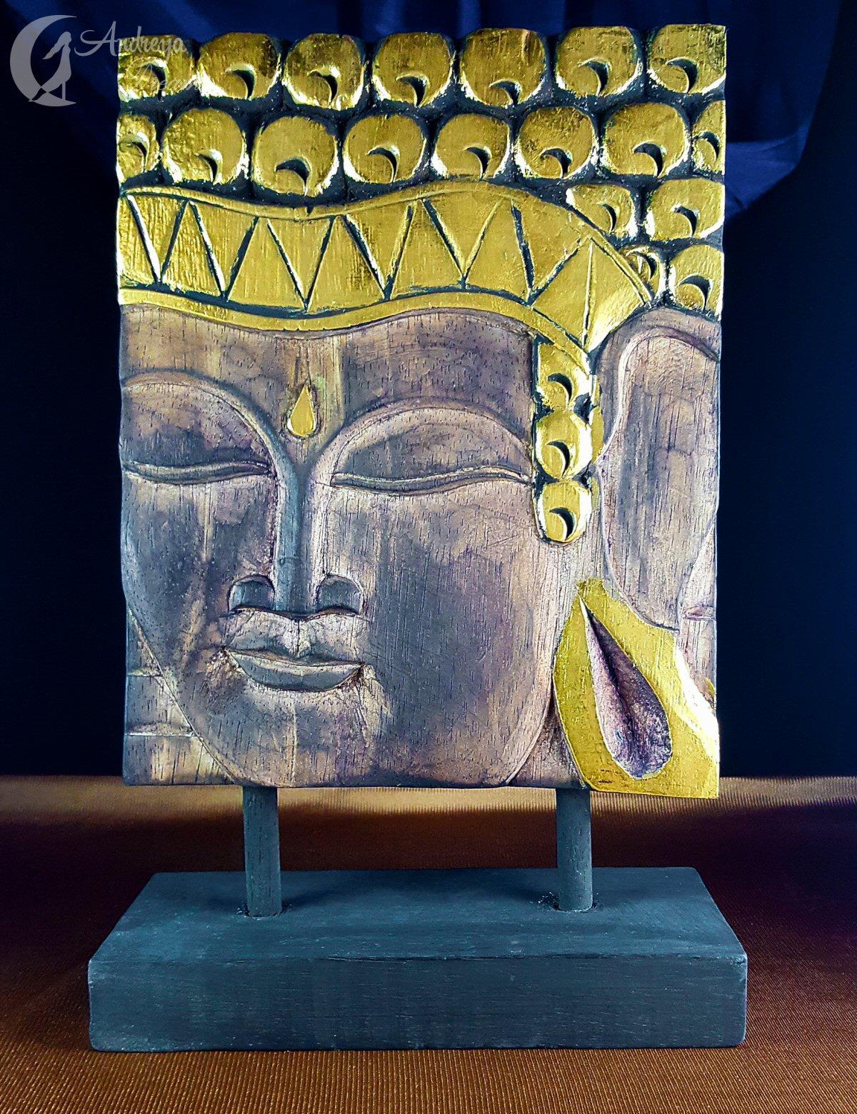 Placa de Madeira Buda Dourado, com Base