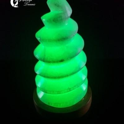Candeeiro de Selenite em Espiral, USB e Luz LED Multicolor