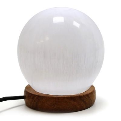 Candeeiro de Selenite em Forma de Bola, USB, Luz Multicolor