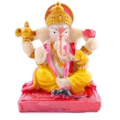 Estátua Ganesha Dourado, Rato, Auréola 6x5x5cm