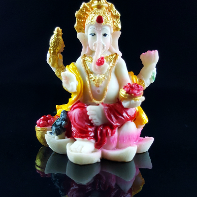 Estátua Ganesha Pintado à Mão