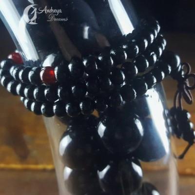 Japamala Preta com Contas de Sândalo 8mm (Contas Grandes)