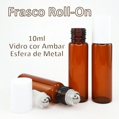Frasco Roll-On de Vidro Ambar 10ml Tampa Branca