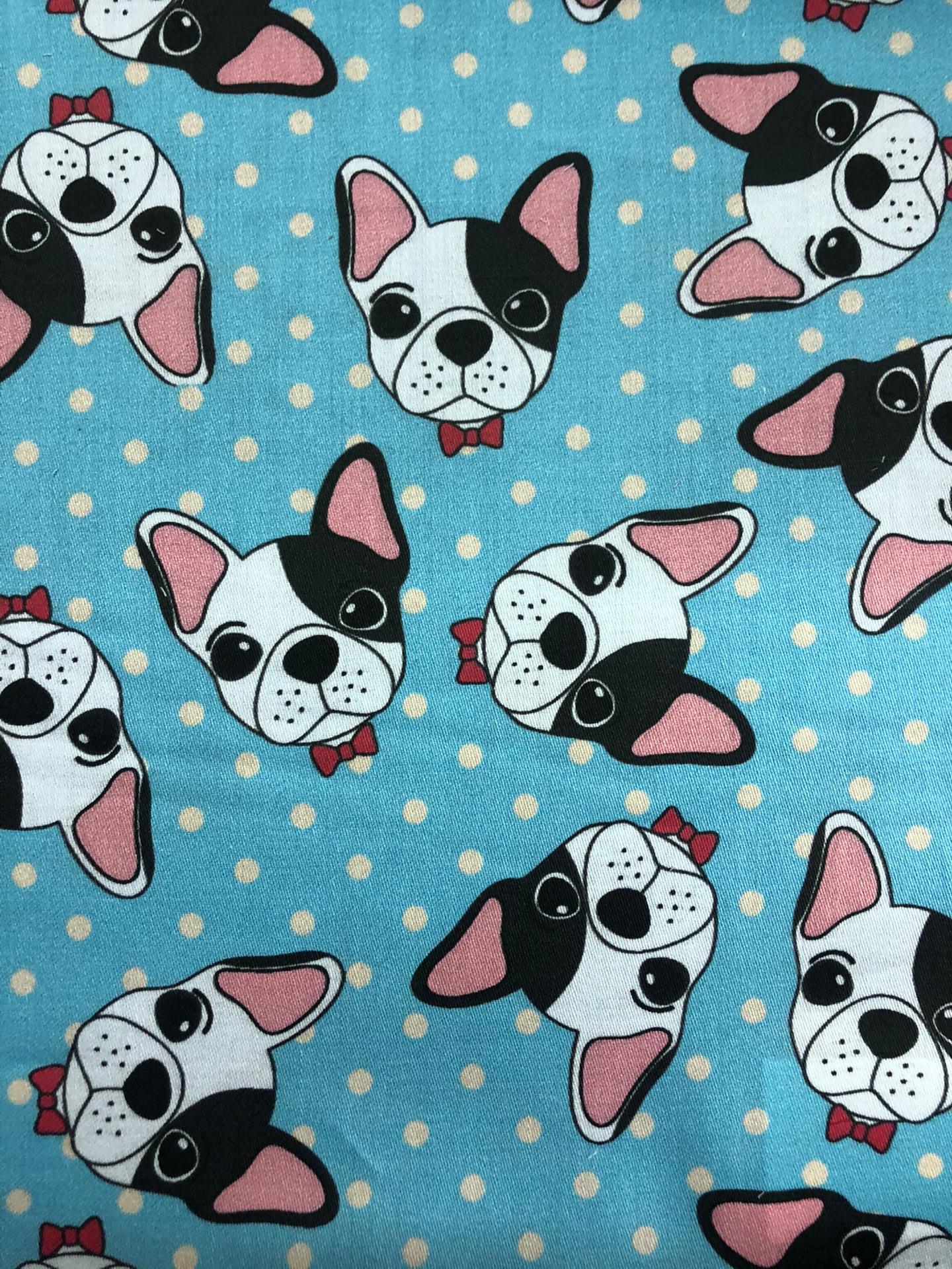 Tecido Satén Digital (Azul Cães)