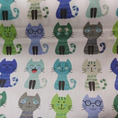 Tecido Azul (Gatos)