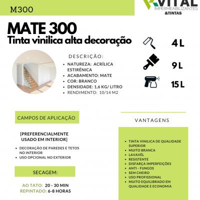 VINIL MATE 300 (TINTA VINILICA BRANCO ALTA DECORAÇÃO  15 LT)