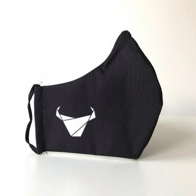 Máscara Touradas preta c/ logo branco