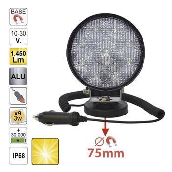 FAROL AUXILIAR LED, REDONDO, LUZ DISPERSA, COM BASE MAGNÉTICA 52567