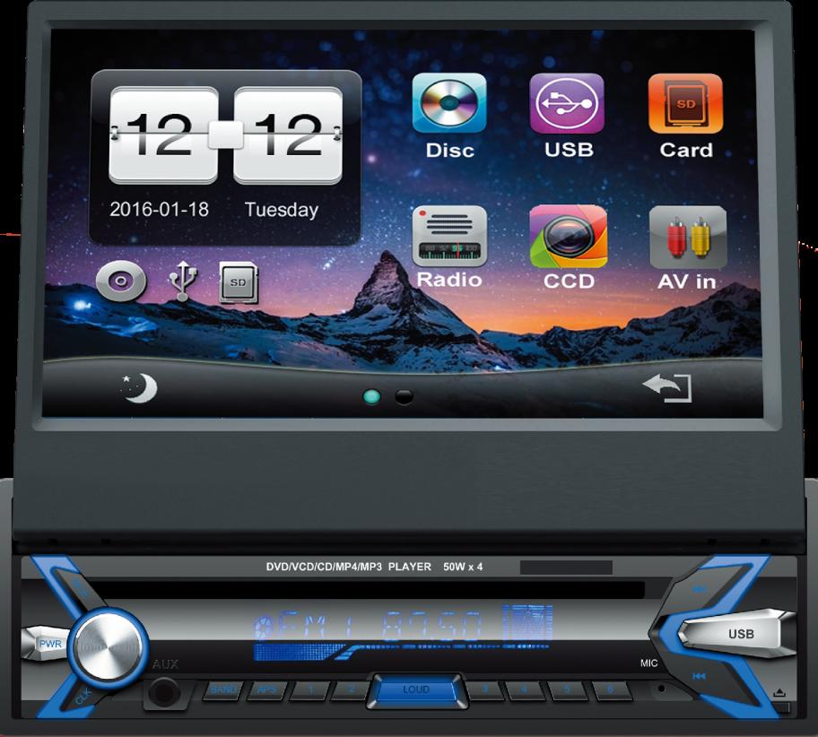 Autorrádio Sicur 1 DIN Flip-Out CD DVD Bluetooth GPS SCMA401