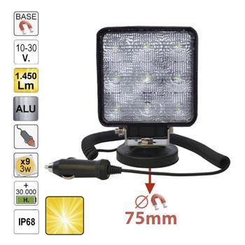 FAROL AUXILIAR LED, QUADRADO, LUZ DISPERSA, BASE MAGNETIZADA 52566