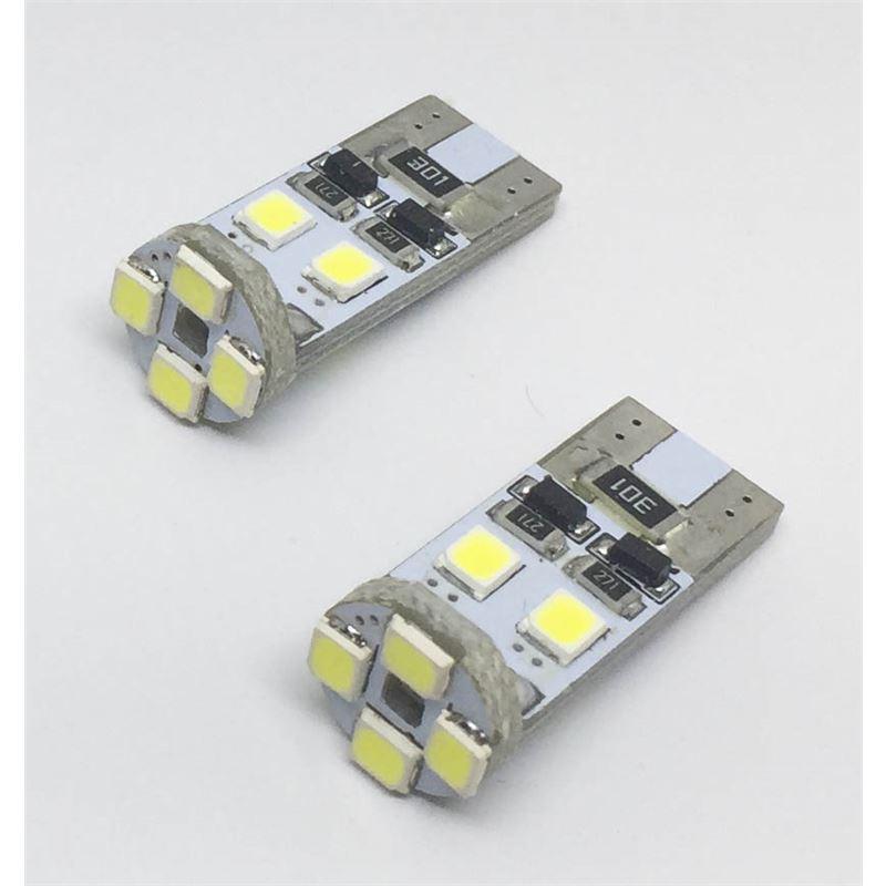 KIT LÂMPADAS LED T10 CAN BUS 8 LED'S 2835SMD 12V LKLP101