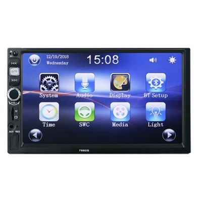 "Sistema Duplo Din Ecrã 7"" USB - Bluetooth - SD Card - Jack - Mirrorlink IOS - Android CarPlay LKDDBT"