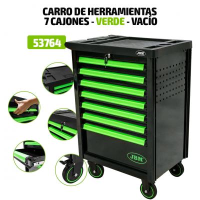 Carro de ferramentas vazio com 7 gavetas verde JBM 53764