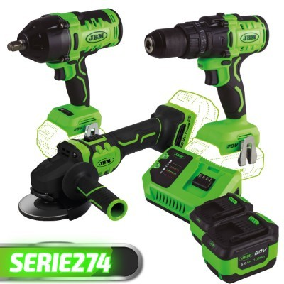Rebarbadora + Berbequim de impacto + Chave de impacto + 2 Baterias + Carregador SERIE274