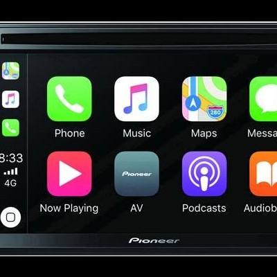 "Sistema Pioneer Duplo Din 6.2"" Carplay, DVD, USB, FLAC, Blueetoth, Multicor, Entrada dupla Camera AVHZ2200BT"