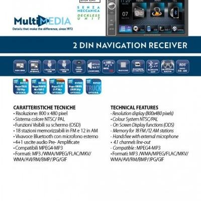 Phonocar Auto-Rádio Duplo Din Sem Mecanismo USB SD GPS Bluetooth VM069