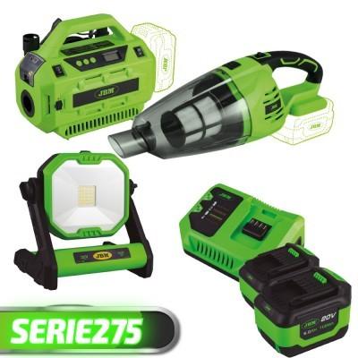 Farol de Trabalho + Aspirador + Bomba Eléctrica + 2 Baterias + Carregador SERIE275