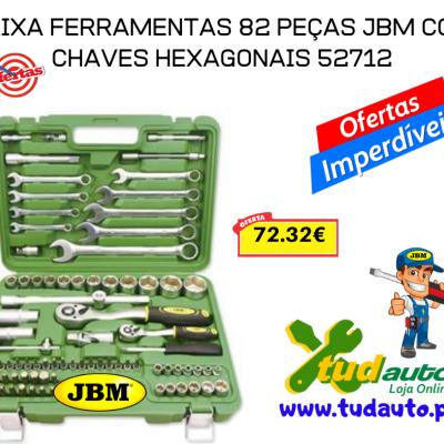 CAIXA FERRAMENTAS 82 PEÇAS JBM COM CHAVES HEXAGONAIS 52712