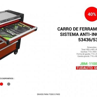 CARRO DE FERRAMENTAS JBM COM SISTEMA ANTI-INCLINAÇÃO XL CINZA/PRETO 53435