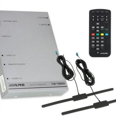 Alpine Receptor de TV digital (DVB-T2) com saída HDMI, controlo remoto e 2 antenas incluídas - TUE-T220DV - TUE-T220DV