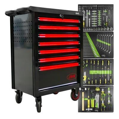 Carro de ferramentas com 7 gavetas preto/vermelho JBM 53765