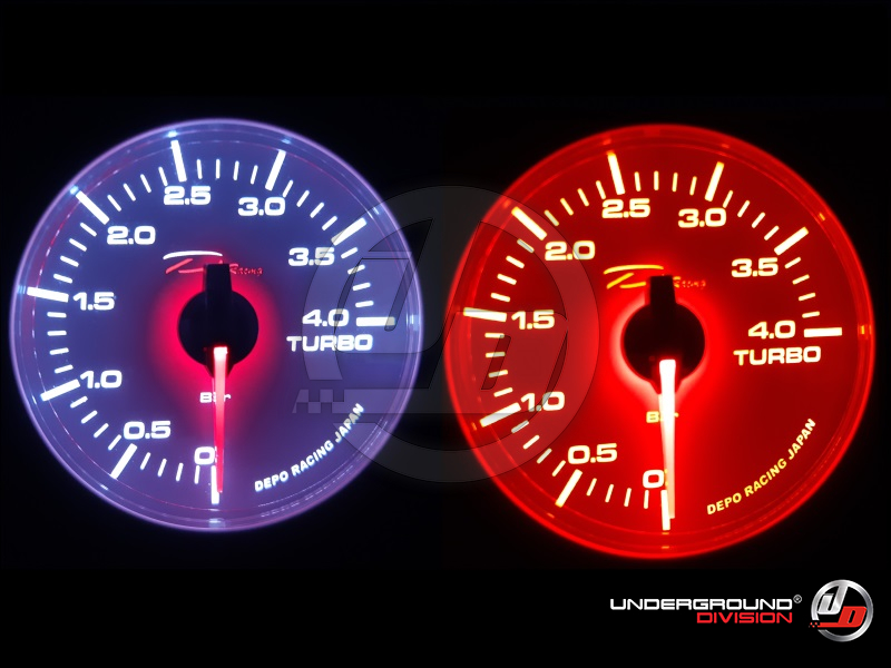 DEPO RACING WHITE FACE 60mm 4 Bar Boost Gauge White/Amber Display Color (TRANSPARENT LENS)