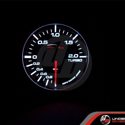 DEPO RACING WA Series 60mm 2 Bar Boost Gauge White/Amber Display Color (SMOKED LENS)