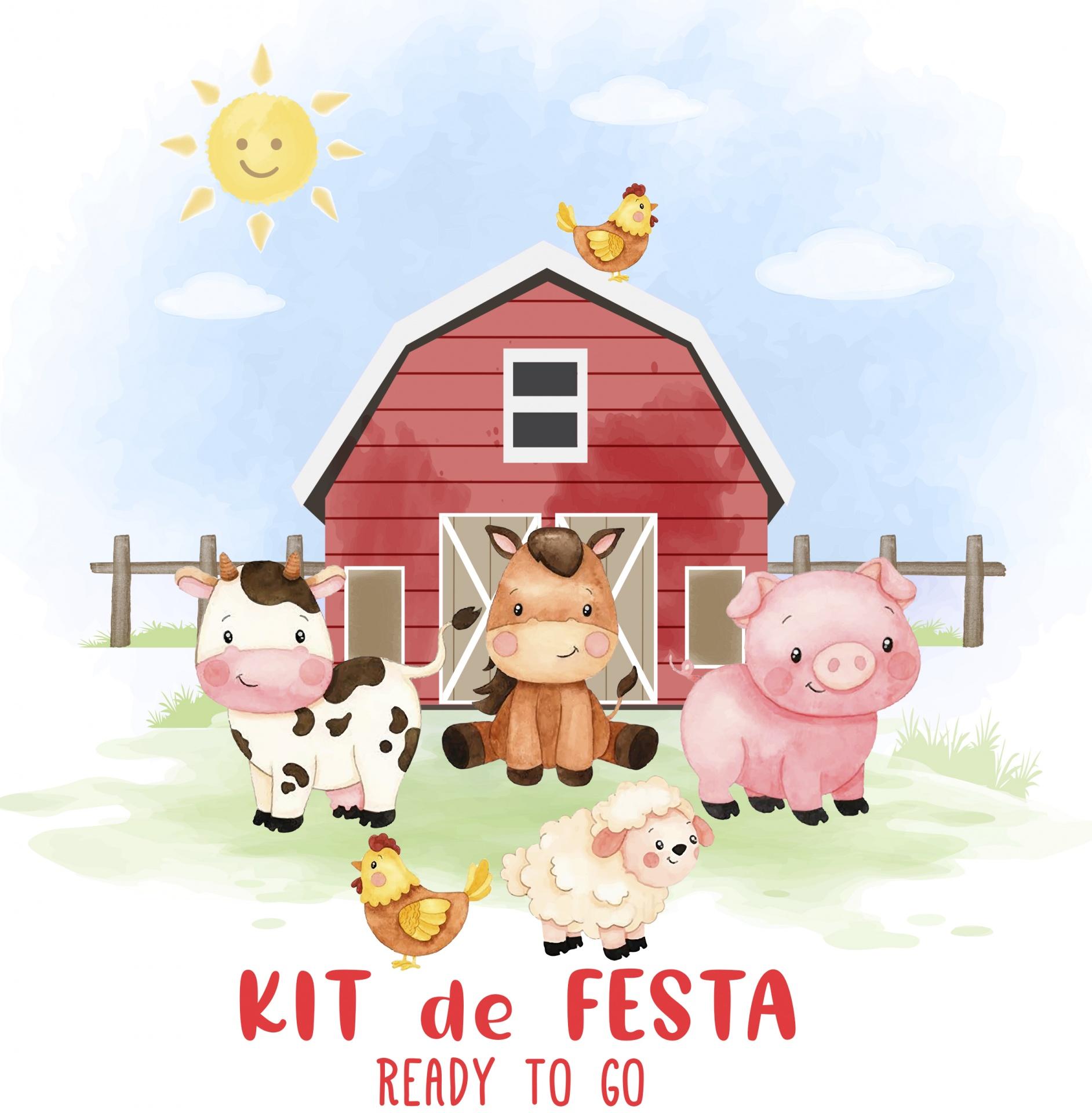 Kit de Festa READY TO GO - ANIMAIS DA QUINTA BOY