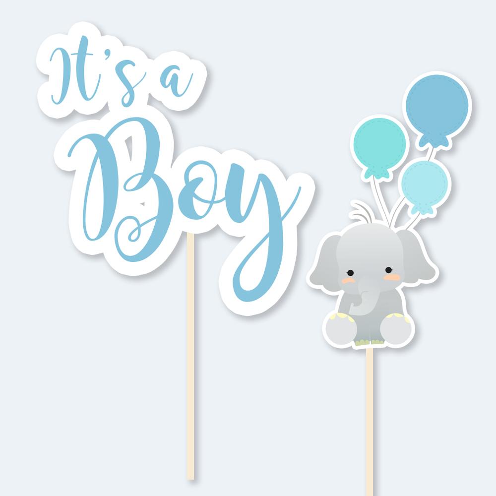 Topos de bolo - Elefante  IT'S A BOY