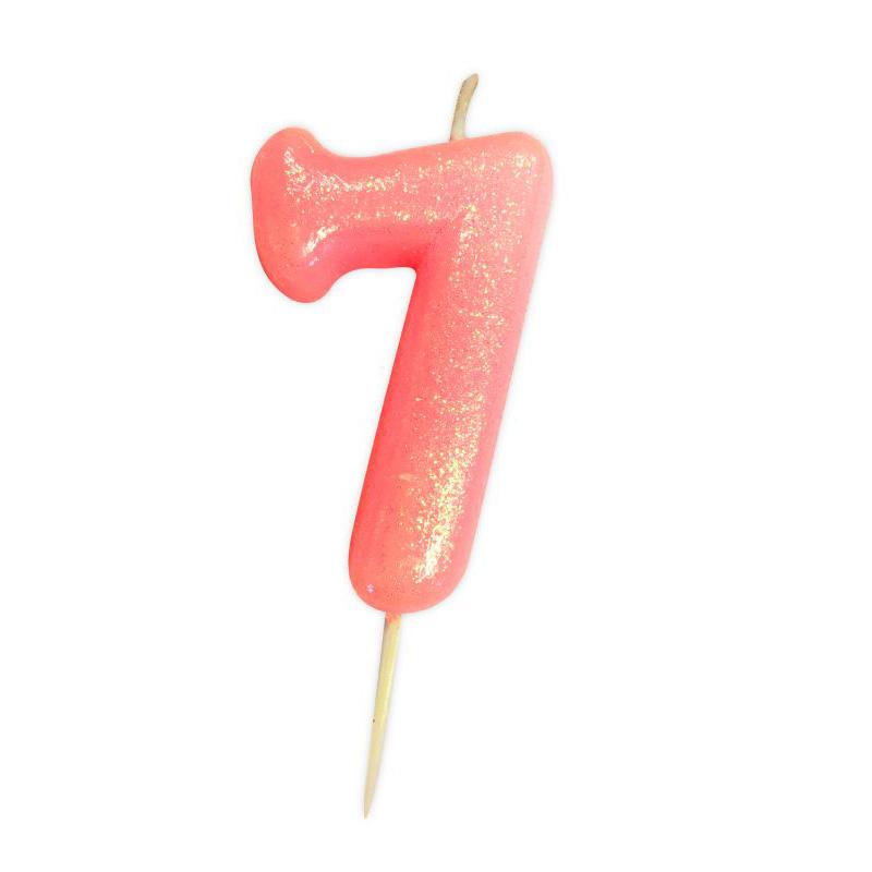 Velas Nº7 GLITTER ROSA