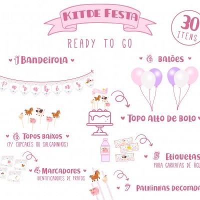 Kit de Festa READY TO GO - ANIMAIS DA QUINTA