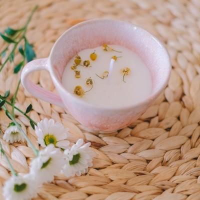 Vela artesanal Perfumada em chávena