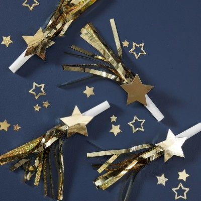 Conjunto de 6 cornetas de festa douradas foil New Year