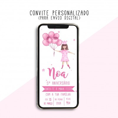 CONVITE DIGITAL - READY TO PRINT - PRINCESA AGUARELA