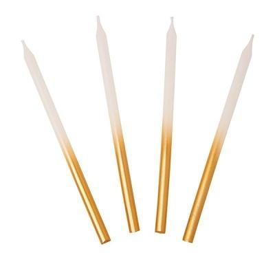 Velas 10cm Branco e Dourado