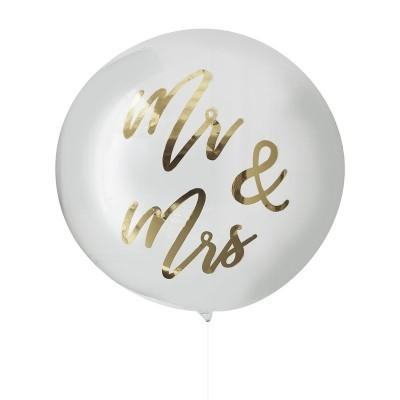 BALÃO GIGANTE ORBZ DOURADO - MR & MRS - GOLD WEDDING
