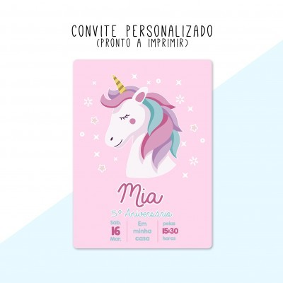 CONVITE DIGITAL - READY TO PRINT - UNICÓRNIO